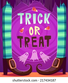 Witch legs. Halloween poster \ background \ card. Vector illustration.