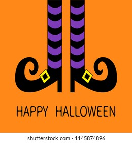 Witch legs with violet striped socks and shoes golden buckle. Happy Halloween. Cute cartoon character body part. Greeting card. Flat design. Orange baby background. Vector illustration