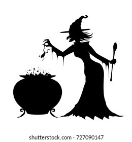 Witch in a long black dress cooking magic potion in her cauldron. White background. Vector.