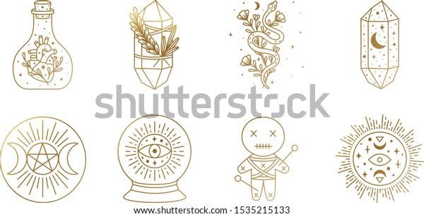 Witch and Magic Collection with moon, triple moon goddess, voodoo doll, crystal, snake, and sun symbols in Vector