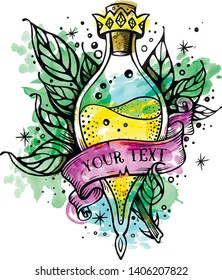 Witch and magic flask potion with crown,branches with leaves, decorative tape for your inscription.Vector illustration.Line art potion of good luck.Oldschool newschool vintage good luck tattoo sketch.