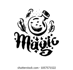 Witch and magic item flask potion illustration with lettering