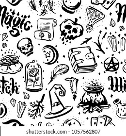 Witch and magic item illustration seamless pattern