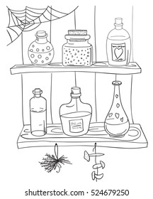 Witch magic potion on the shelf in a pantry. Coloring page in doodle stile. Hand work.