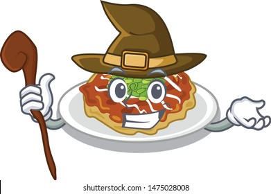 Witch okonomiyaki isolated with in the character