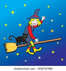 Witch on broom and cat at blue background with stars, vector illustration
