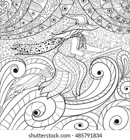 Witch on the broom coloring page for adults.Thanksgiving Symbol. Halloween Decorations