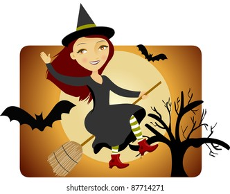 A Witch on a Broom Flying on Halloween night
