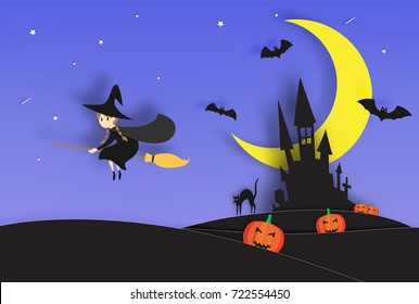 Witch on the broom paper art style with smile pumpkin and the castle in the background for halloween party vector illustration