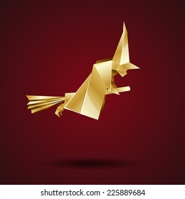 witch on a broomstick, golden origami