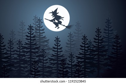 Witch on a broomstick in the moon, helloween See the moon shines through the pine  trees Nightly sky with large moon Shadow tree on sun in evening Pine trees at night with full moon Vecor wood creepy