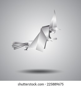 witch on a broomstick, silver origami