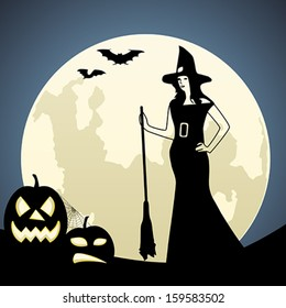 Witch on moon background