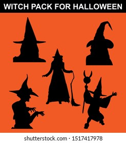 witch pack with different poses and use a simple black silhouette style