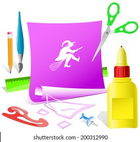 Witch. Paper template. Vector illustration.