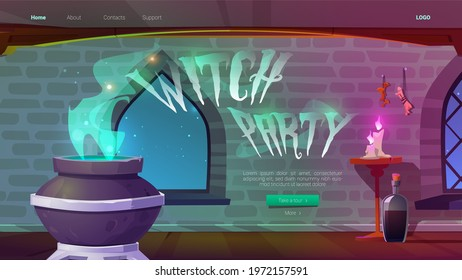 Witch party banner with magic potion boiling in cauldron at night. Vector landing page of Halloween party with cartoon interior of wizard or sorceress room in medieval castle or stone house