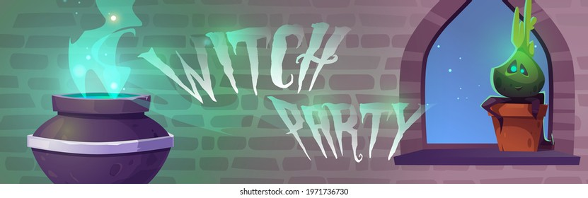 Witch party poster with magic potion boiling in cauldron and cute plant in pot. Invitation to Halloween party. Vector cartoon interior of wizard or sorceress room in medieval castle or stone house