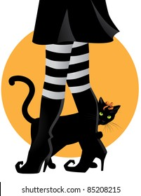 Witch with pet cat  black cat peeps out from behind a witch's legs. EPS 8 vector is grouped for easy editing, with no open shapes, strokes or transparencies.