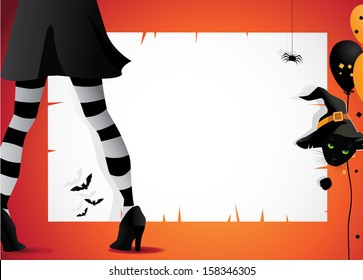 Witch and pet cat Halloween invitation frame background. EPS 10 vector, grouped for easy editing/ No open shapes or paths.