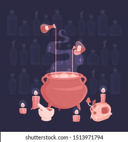 Witch ritual set. A potion is brewed in the cauldron, poisons and candles are standing around, a skull with mushrooms from the eye.  Background of a bottle of potions. Flat vector illustration.