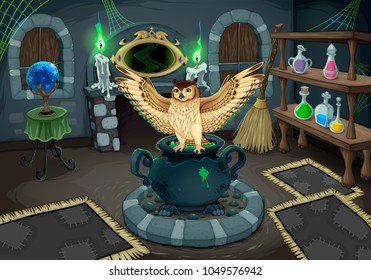 The witch room with owl. Vector cartoon illustration for halloween and games.