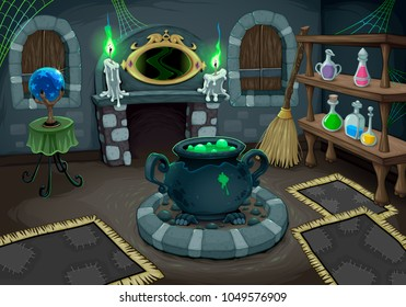 The witch room. Vector cartoon illustration for halloween and games.