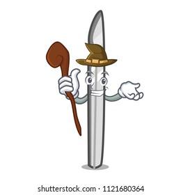 Witch scalpel mascot cartoon style