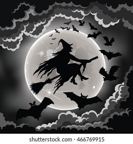 Witch silhouette flying on her broomstick with bats.