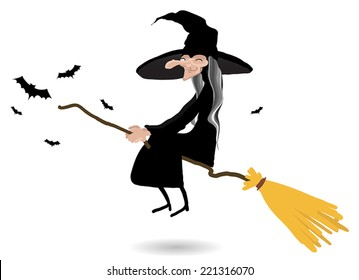 witch sitting on the broom on white background