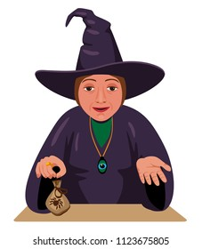 witch sitting at the table and offers to buy magic product. Treatment folk methods. quack throws on the money.
