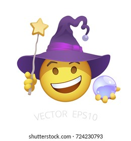 Witch smiley. Yellow emoticon of cheerful sorceress in the purple twisted hat. Funny chat character holds a wand with a star and lilac crystal magic sphere. Cute Halloween emoji on a white background.