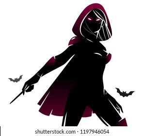 Witch / sorceress with the magic wand, silhouette