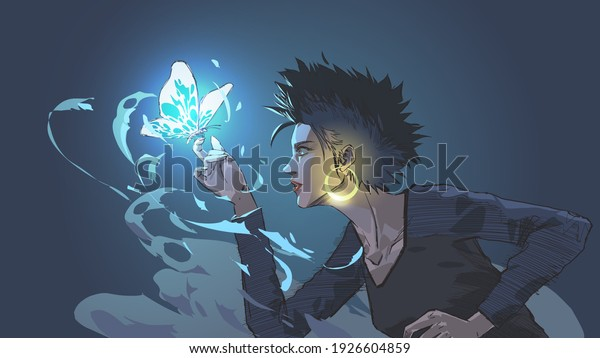 the witch summons a glowing blue butterfly with magic power, vector illustration