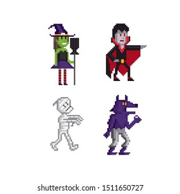 Witch, vampire, mummy, werewolf character pixel art icon set. Element design for logo, stickers, web, embroidery and mobile app. Isolated vector illustration. 8-bit sprite.