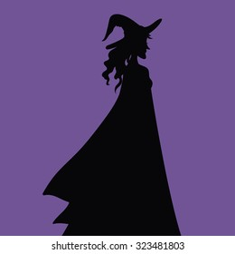 Witch vector silhouette Halloween Decoration