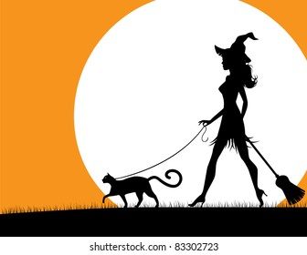 Witch walking pet cat. A beautiful, stylish witch walks her pet black cat in the moonlight. EPS 8 vector, grouped for easy editing. No open shapes or paths.