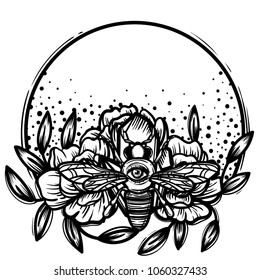 Witchcraft. bee with eye. occult bee, magic crystal and flowers peonies. linear tattoo print illustration.