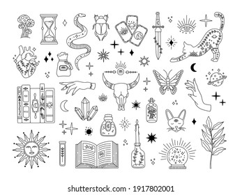 Witchcraft big set, mystic magical symbols for flash tattoo, hand drawn mystery collection, modern boho style elements for print design. Vector icons and logo illustration isolated on white background