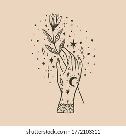 Witchcraft culture concept. Harmony and zen. Tattooed mehndi human hand and crescent moon magic symbols. Elegant tattoo artwork. Isolated vector illustration.