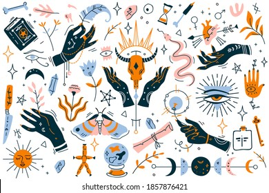 Witchcraft doodle set. Collection of modern minimalistic design elements on white background. Magical pictures of occultism magician symbols perfect for tattoo textile cards mystery illustration.