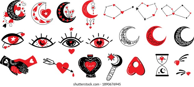 Witchcraft love symbols.Vector illustration on love theme with Creepy Valentine's day attributes, heart, evil eye, magic hands, potion,stars and moon. Mystical Celestial and Witchy illustrations