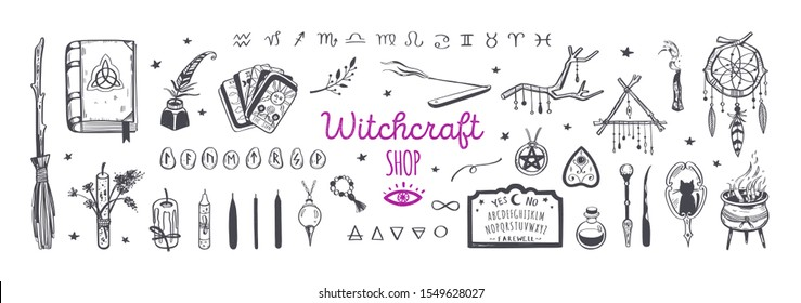 Witchcraft, magic shop for witches and wizards. Wicca and pagan tradition. Vector vintage collection. Hand drawn elements: candles, book of shadows, potion, tarot cards etc.