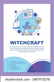 Witchcraft poster template layout. Wizard and tarot cards. Banner, booklet, leaflet print design with linear icons. Fortune telling. Vector brochure page layouts for magazines, advertising flyers