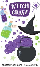 Witchcraft set. Bottles of potion, cauldron, witch hat, magic wand. Set in purple and bright green colors.