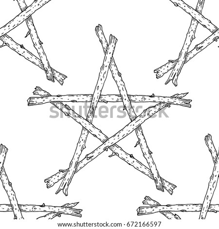 Witchcraft Wicca Sticks Pentagram Seamless Pattern Stock Vector