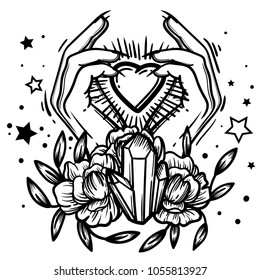 Witchcraft. Witch hand, magic crystal and flowers peonies. linear tattoo print illustration.