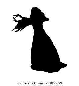 Witchcraft witch magical silhouette fantasy. Vector illustration.