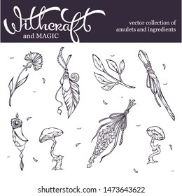 witchcraft and wizardry object collection, amulets, potion ingredients and  artefacts