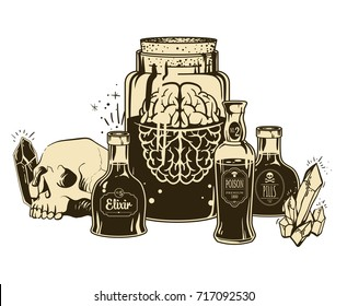Witchcrafting set of bottles with poison, crystal, skull an jar with brain. Halloween card\poster. Vector illustration engraving style.