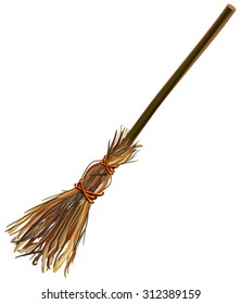 Witches broom stick. Old broom. Halloween accessory object. Isolated illustration